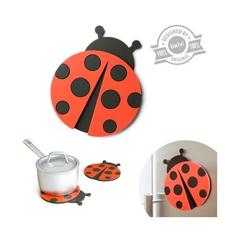 Soporte para recipientes calientes con diseño de mariquita.