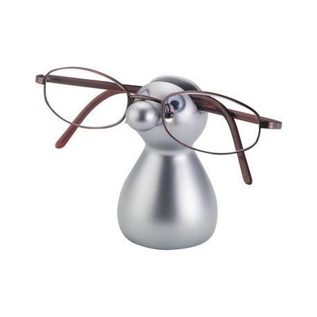 Soporte para gafas con diseño de muñeco.